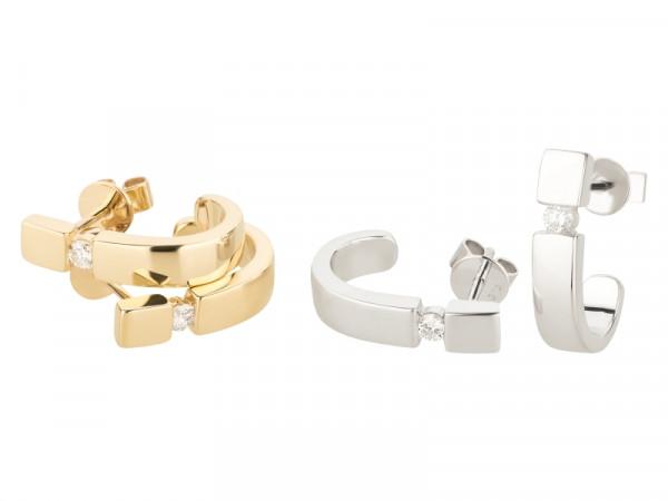 Damen-Ohrringe, DALINO 375 Gold Creolen mit 0,10 ct Diamanten