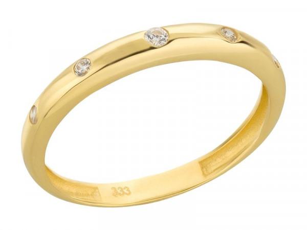 Damen-Ring, DALINO 333 Gold Vorsteckring mit Zirkonia-Steine