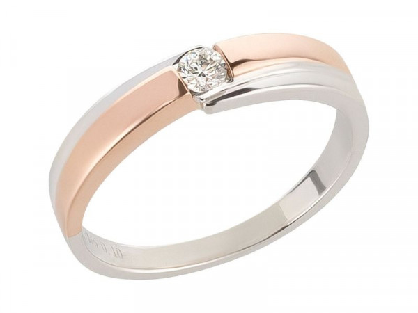 Damen-Ring, DALINO 375 Gold bicolor 0,10 ct Diamant