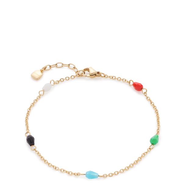 Damen-Armband, CIAO! BY LEONARDO Edelstahl gold mit verschiedenfarbigen Glasperlen Nonna