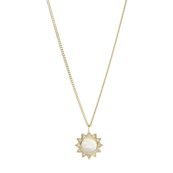 Fossil Halskette Damen You Are My Sunshine in vergoldeten Edelstahl