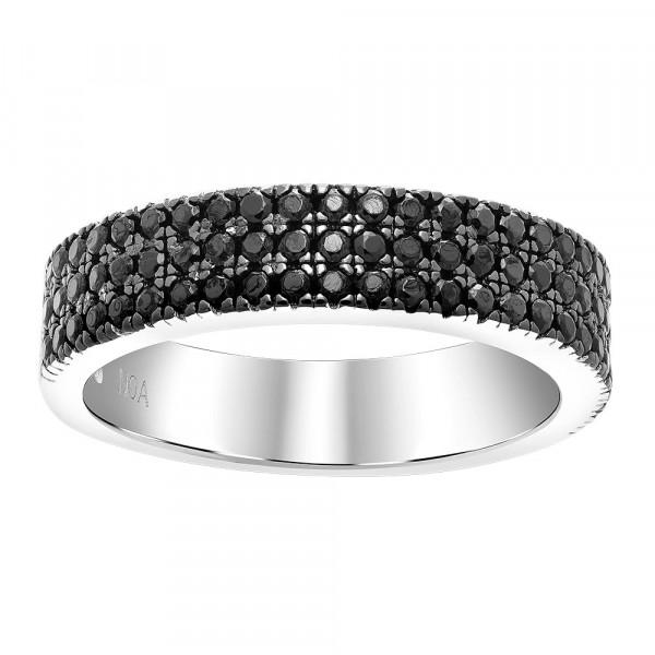 Joanli Nor Damenring Rhod. Silber Ring ADINA 3 Reihen schwarze Zirkonia