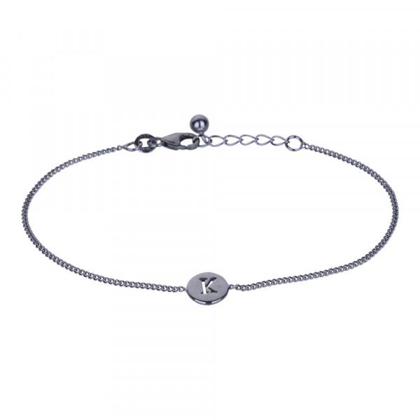 "Oxidiertes Silber Armband ""K"" 8mm 17+2cm"