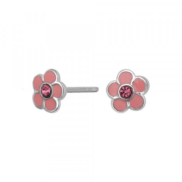 Kinder-Ohrstecker, NOA KIDS JEWELLERY silber rhod. Blume mit rosa Zirkonia