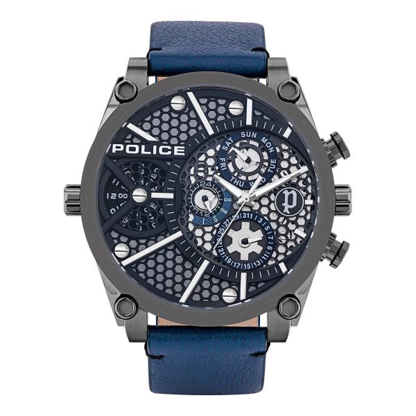 POLICE Herrenuhr Vigor Echtlederarmband in Blau