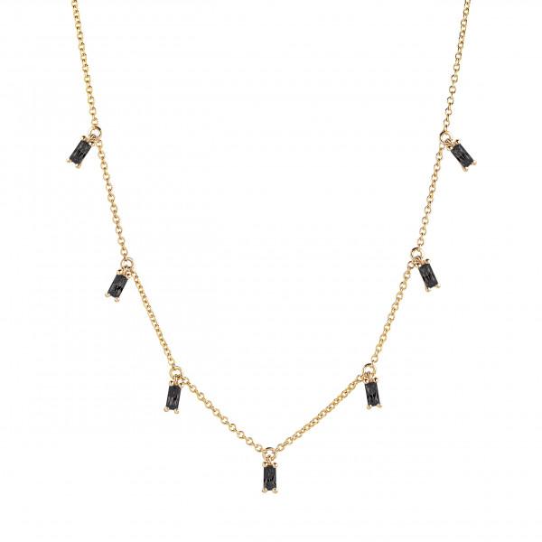 Sif Jakobs Damen Halskette Princess Baguette 18K vergoldet mit schwarzen Zirkonia
