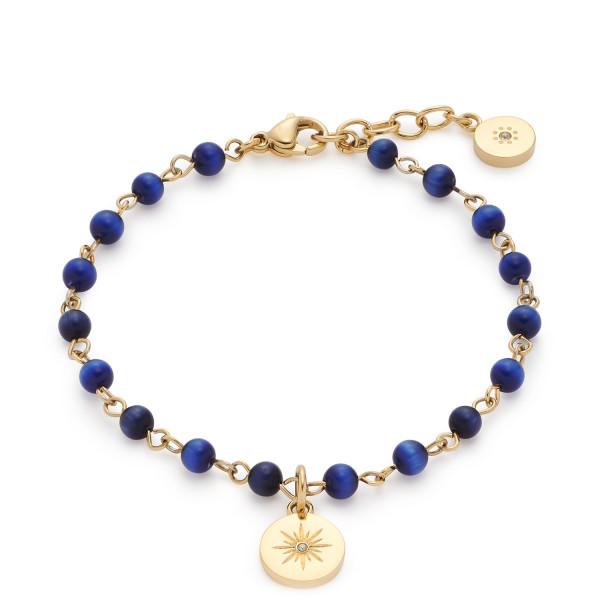 LEONARDO Armband Rosella mit blauen Cateye Perlen