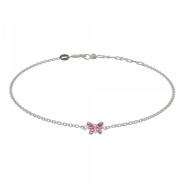 Rhod. Silber Armband Schmetterling Zirkonia 7mm