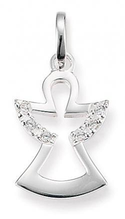 Damen-Anhänger, Palido 925 Silber Zirkonia weiss Engel
