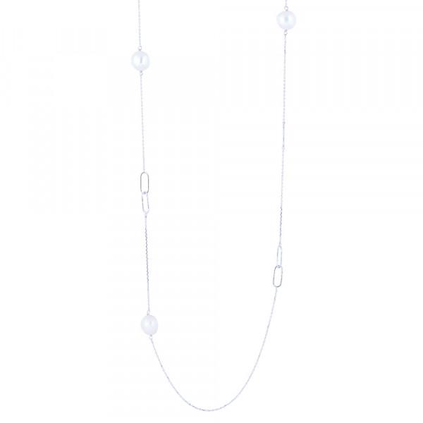 Silb. Rhod. Halskette BAROQUE52 Süßwasser perlen 95cm