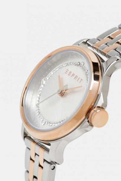 Damen Armbanduhr, ESPRIT Edelstahlarmband silber bicolor mit Zirkonia
