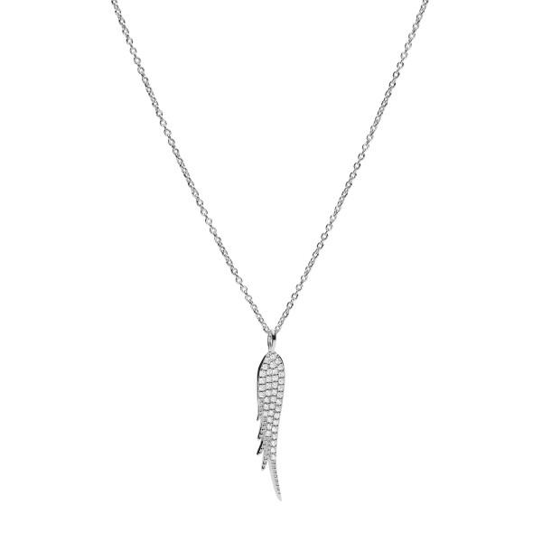 Fossil Halskette Damen Feder Anhänger in 925er Silber