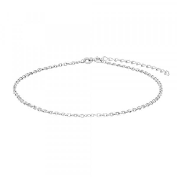 Nordahl Jewellery Damenfusskettchen Rhodinierte Silber Fusskettchen SUMMER 23+4cm