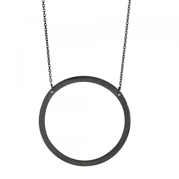 Oxidierte Silber Halskette Kreis 42mm 94cm