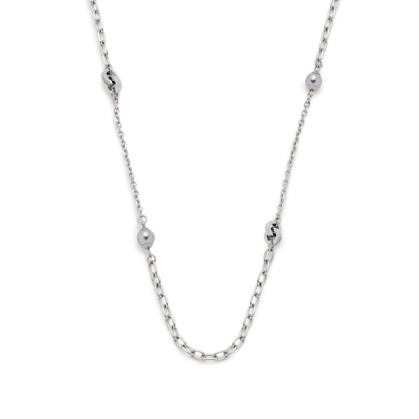 Damen-Halskette, LEONARDO CLIP & MIX Edelstahl Imitationspelren Zirkonia-Steinchen 80cm Lotta