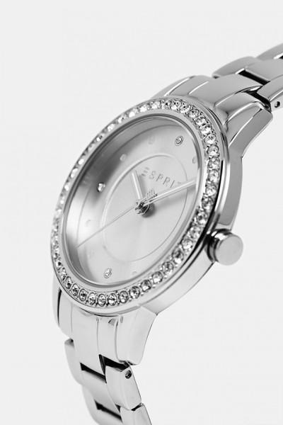 Damen Armbanduhr, ESPRIT Edelstahlarmband silber mit Zirkonia