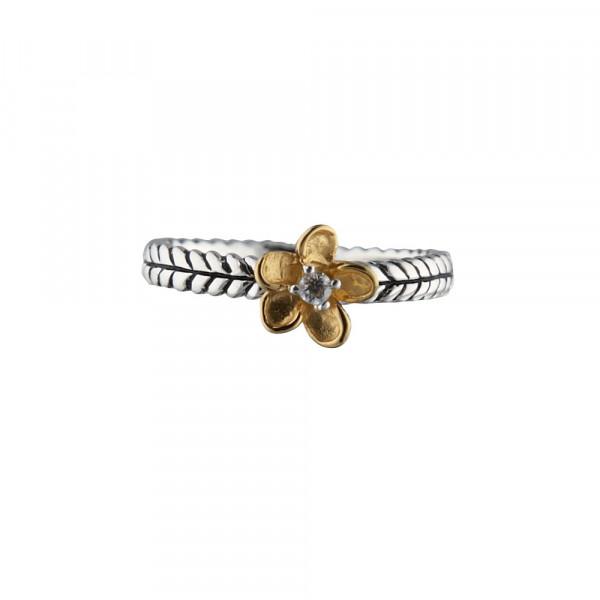 Kinder-Ring, NOA KIDS JEWELLERY silber mit verg. Blume und Zirkonia