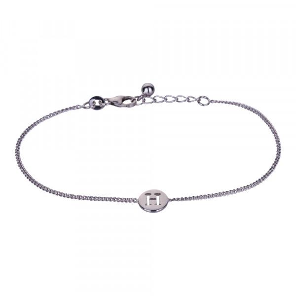 "Rhodniertes Silber Armband ""H"" 8mm 17+2cm"