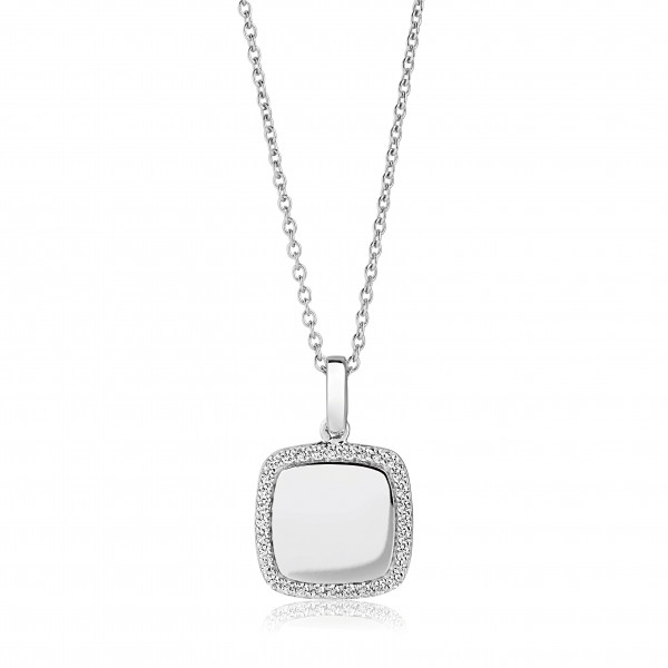 Damenhalskette Halskette Follina Quadrato mit weißen Zirkonia SJ-P3774-