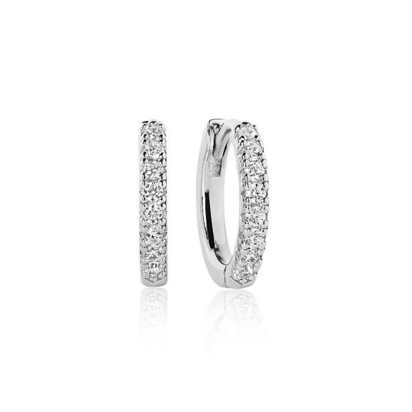 Sif Jakobs Damen Creolen Silber mit weißen Zirkoniasteinen