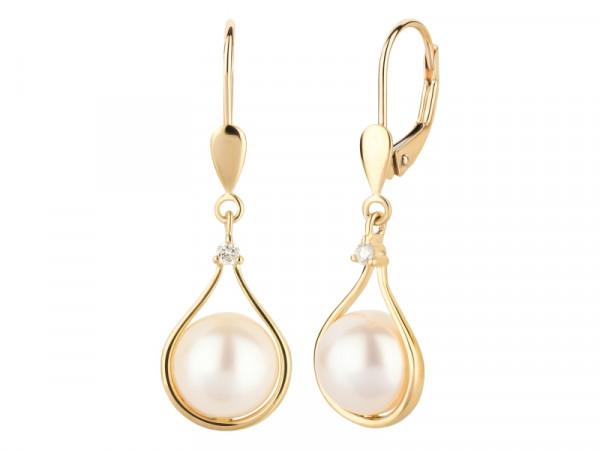 Damen-Ohrringe, DALINO 375 Gold Perlen mit 0,04 ct Diamanten