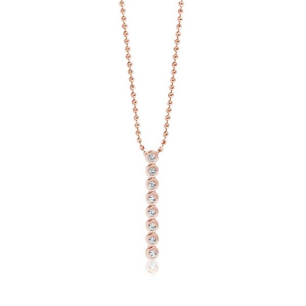 Sif Jakobs Damen Halskette Sardinien Otto Pendant 18K rosévergoldet mit weissen Zirkonia