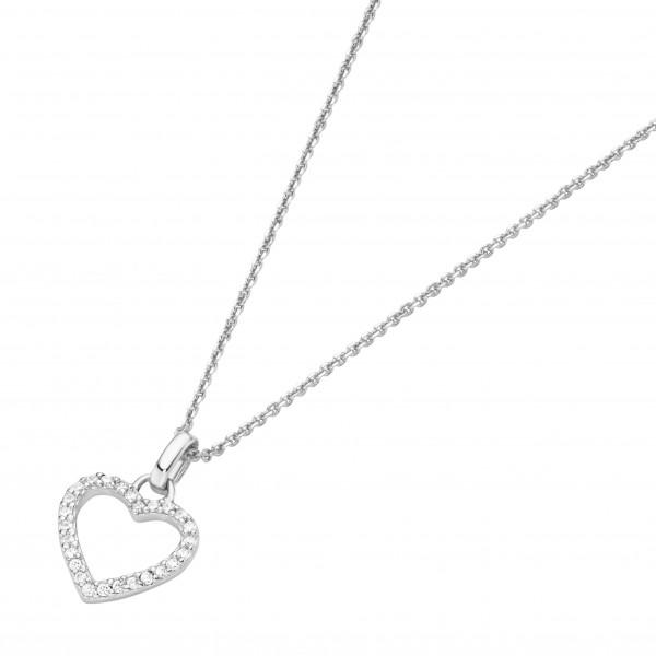 Damenhalskette Halskette mit Herzanhänger 585 Weissgold by Da-lino 99041051450