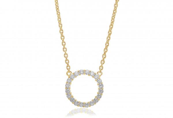 Halskette Biella Grande - 18Kvergoldet mit weißen Zirkonia