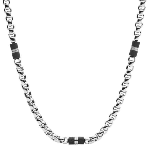 Fossil Halskette Herren Black Marble Edelstahl