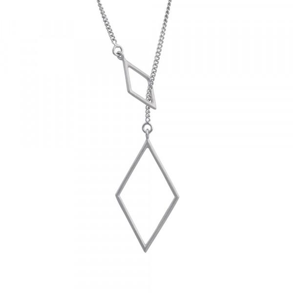 Rhodinierte Silber Halskette Doppel Rhombus
