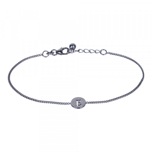 "Oxidiertes Silber Armband ""E"" 8mm, 17+2cm"