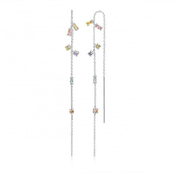 Damenohrringe Ohrhänger Princess chain mit bunten Zirkonia SJ-E22031