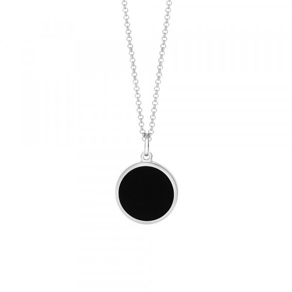 SON of NOA Herren-Halskette Halskette Silber Rohd. schwarzer Onyx