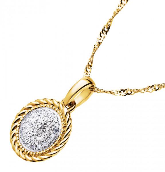 Damen-Halskette, DALINO 375 Gold mit 0,05 ct Diamanten