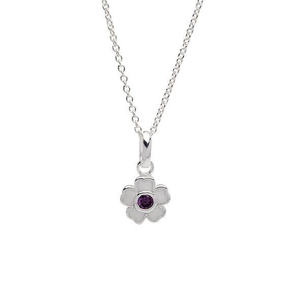 Kinderhalskette Silber Halskette weiße Blume mit lila Zirkonia
