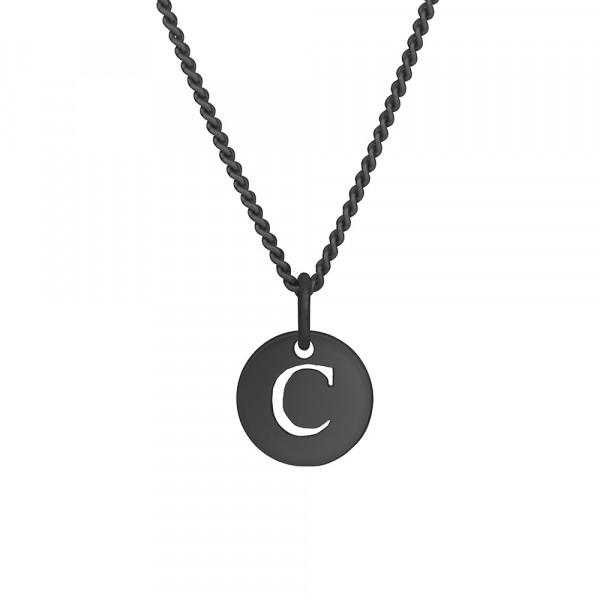 """Oxidierte Silber Halskette """"C"""" 10mm 42+3cm"""