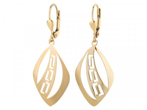 Damen-Ohrringe, DALINO 333 Gold Hänger-Brisuren Raute-Stil