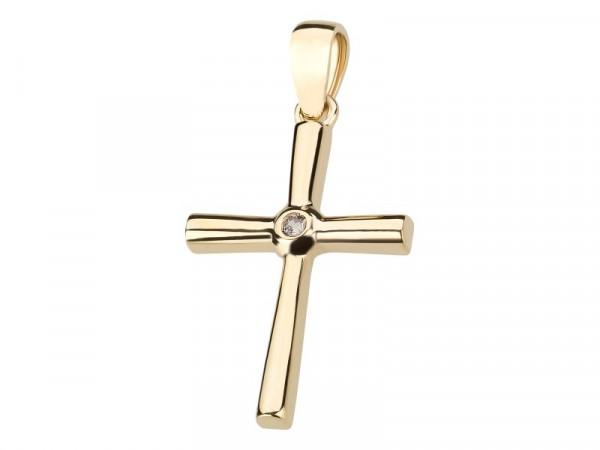 Kreuz Anhänger aus 333 Gold mit Zirkonia-Stein