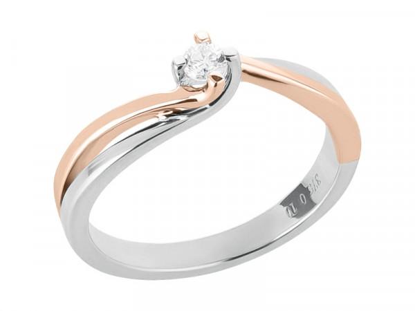 Damen-Ring, DALINO 375 Gold Solitär Ring bicolor mit 0,10 ct Diamant