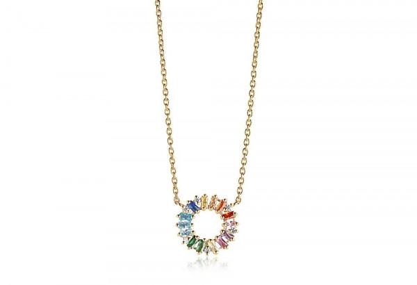 Sif Jakobs Damen Halskette Antella Circolo 18K vergoldet mit Bunten Zirkonia