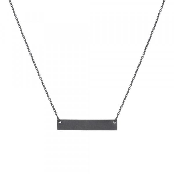 Oxidierte Silber Halskette Platte 40+5cm