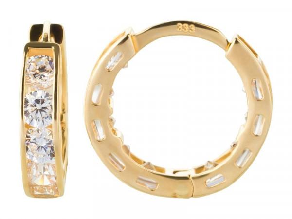 Damen-Ohrringe, DALINO 333 Gold Creolen mit Zirkonia