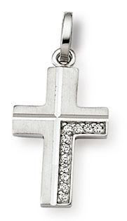 Kreuzanhänger 925 Silber Zirkomia weiss 18mm