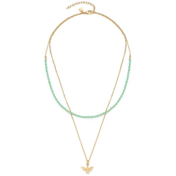 Damen-Halskette, CIAO! BY LEONARDO Edelstahl goldfarben Schliffglasperlen Bienen-Anhänger Peppina