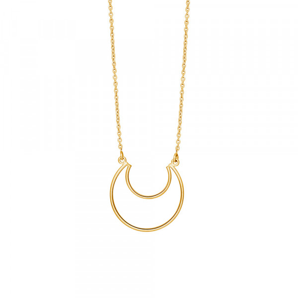 Vergoldete Silber Halskette MOON 24mm - 70cm