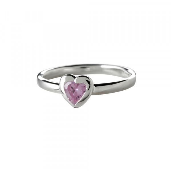 Kinder-Ring, NOA KIDS JEWELLERY silber mit Herz und rosa Zirkonia