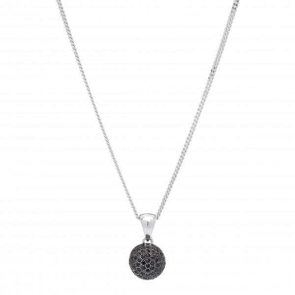 Joanli Nor schwarz Rhodinierte Silber Halskette mit Zirkonia AMOLA
