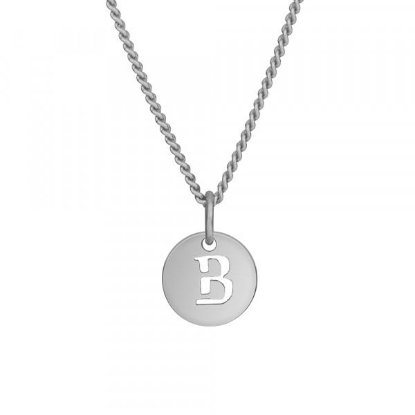 """Rhodinierte Silber Halskette """"B"""" 10mm 42+3cm"""