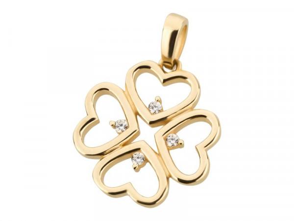 Anhänger Kleeblatt-Herz aus 333 Gold mit Zirkonia