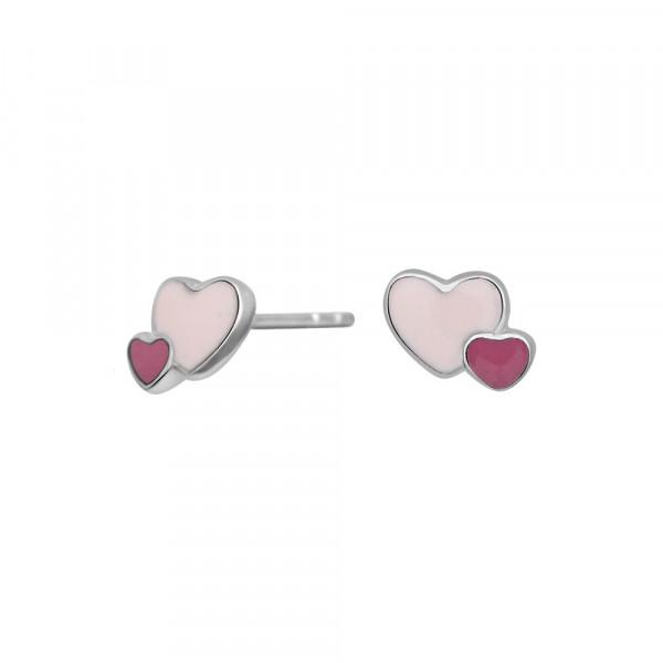 NOA KIDS JEWELLERY Kinder-Ohrstecker silber rhod. Herz mit rosa Emaille